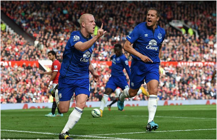 Naismith and Jagielka celebrate, with Lukaku's thoughts seemingly elsewhere